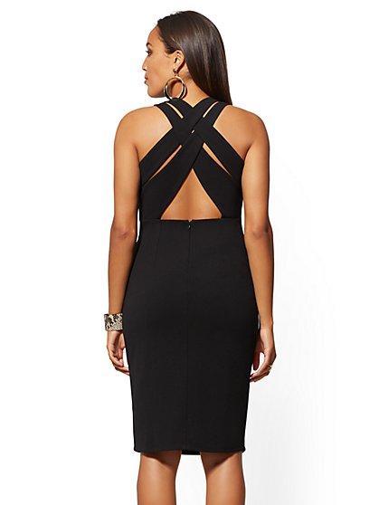 4939a30053 ... Back Crisscross Strap Sheath Dress - Magic Crepe - New York & Company  ...
