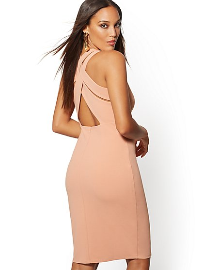 Back Crisscross Strap Sheath Dress - Magic Crepe - New York & Company