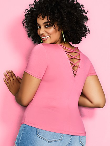 Back Lace-Up Top - Soho Soft Tee - New York & Company