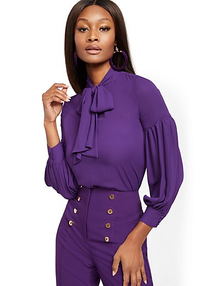 Balloon-Sleeve Bow Blouse - 7th Avenue - New York & Company