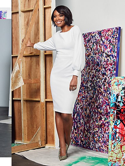 Balloon-Sleeve Sheath Dress - Gabrielle Union Collection - New York & Company