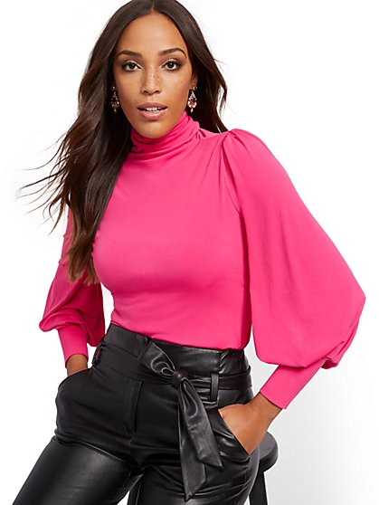 Balloon-Sleeve Turtleneck Top - 7th Avenue - New York & Company