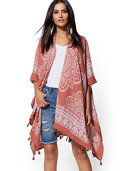 Bandanna-Print Duster Top - New York & Company