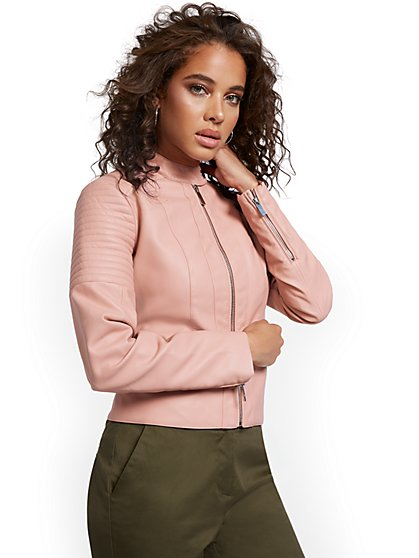 Banded Collar Faux-Leather Moto Jacket - New York & Company