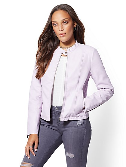 Banded Collar Moto Jacket - New York & Company