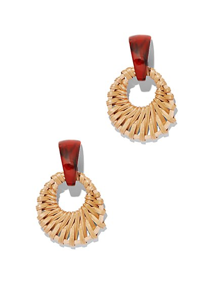 Basket-Weave Circle Drop Earring - New York & Company