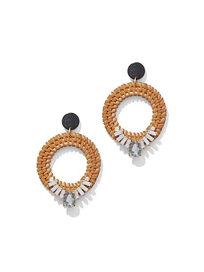Basket-Weave Hoop Drop Earring - New York & Company