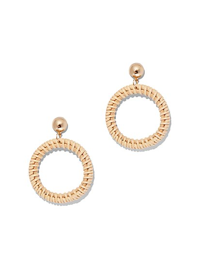 Basket-Weave Open-Circle Drop Earring - New York & Company