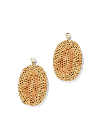 Basket-Weave Oval Drop Earring - New York & Company