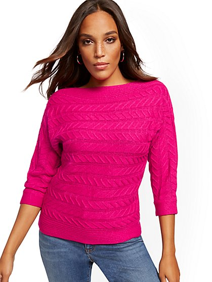 Bateau-Neck Cable-Knit Sweater - New York & Company