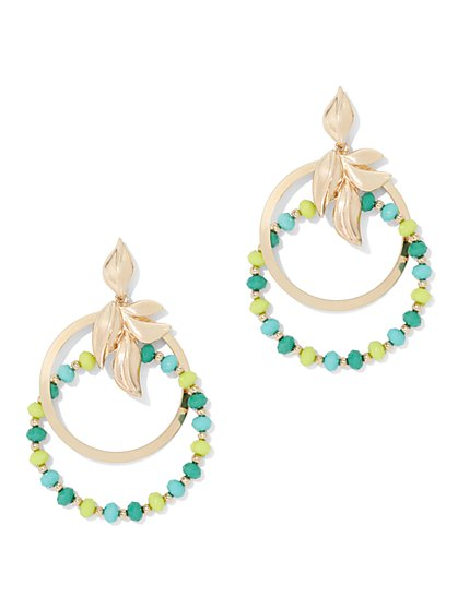 Beaded Double Hoop Drop Earring - New York & Company