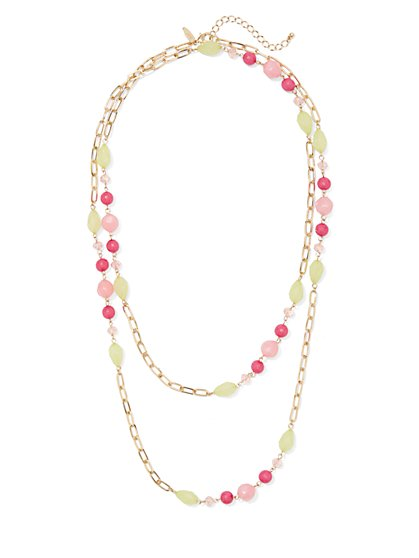 Beaded Double-Row Link Necklace - New York & Company