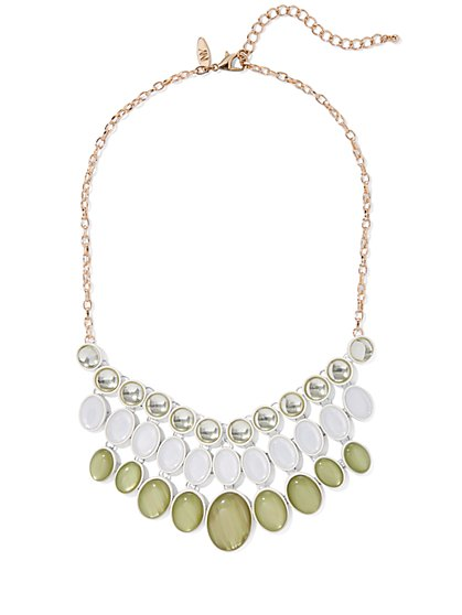 Beaded & Faux Stone Statement Necklace - New York & Company