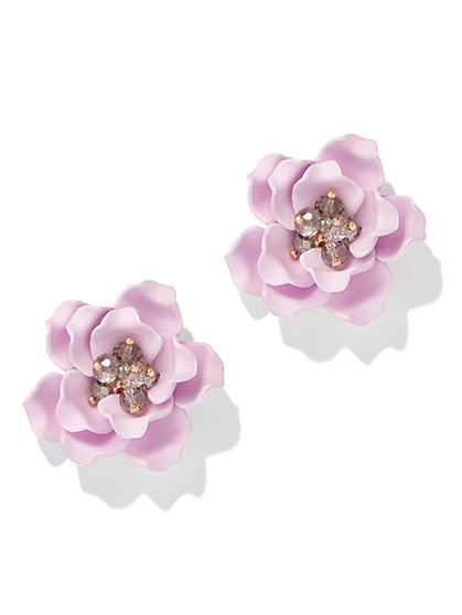 Beaded Floral Post Earring - New York & Company