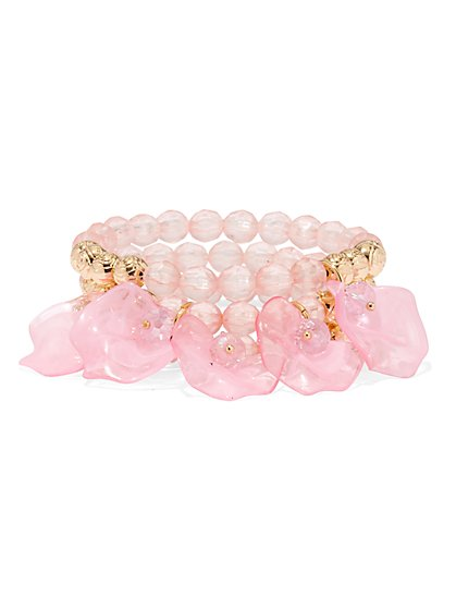 Beaded Floral Stretch Bracelet - New York & Company