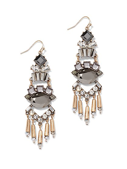 Beaded Fringe Goldtone Drop Earring - New York & Company