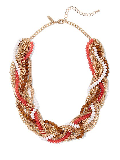 Beaded Goldtone Torsade Necklace - New York & Company