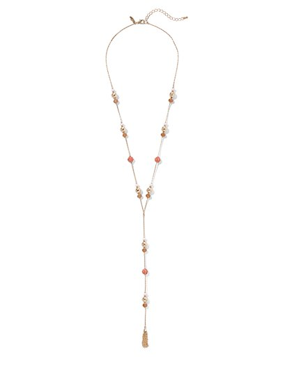 Beaded Goldtone Y-Shaped Tassel Necklace - New York & Company