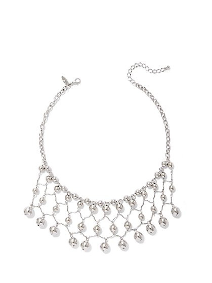 Beaded Lattice Statement Necklace - New York & Company