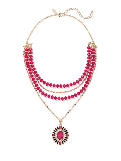 Beaded & Layered Pendant Necklace - New York & Company