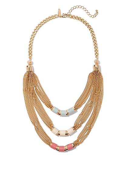 Beaded Layered Statement Necklace - New York & Company