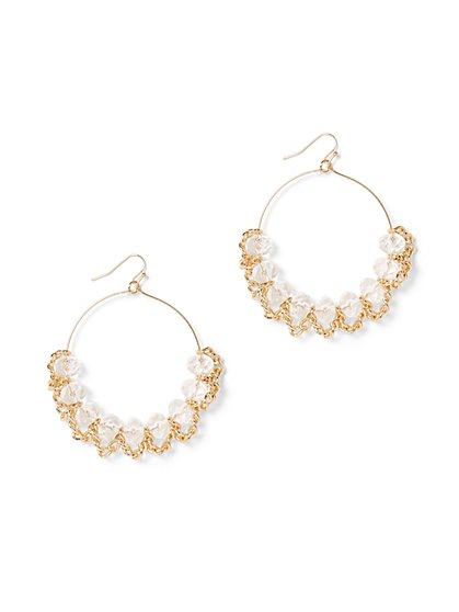 Beaded Link-Accent Hoop Drop Earring - New York & Company