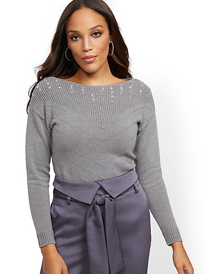 Beaded-Neck Sweater - New York & Company