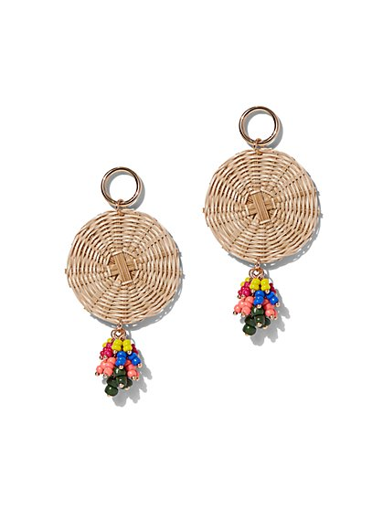 Beaded Raffia Disk Earring - New York & Company