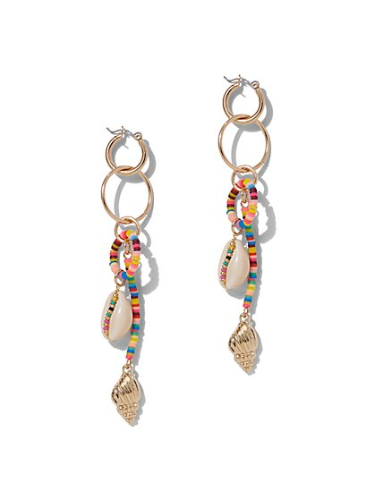 Beaded Shell-Accent Linear Drop Earring - New York & Company