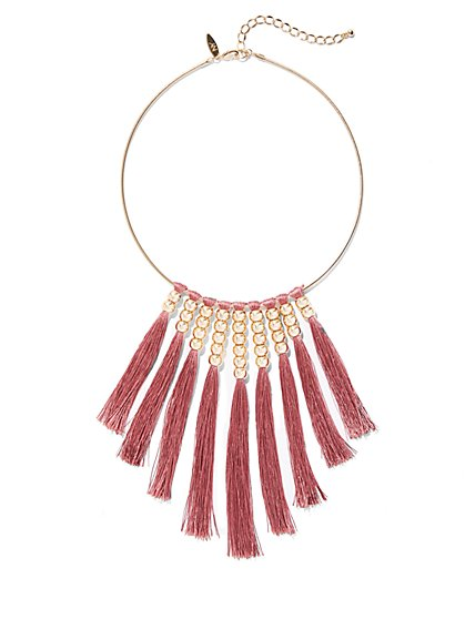 Beaded Tassel Collar Necklace - New York & Company