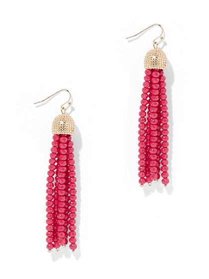 Beaded Tassel Goldtone Drop Earring - New York & Company