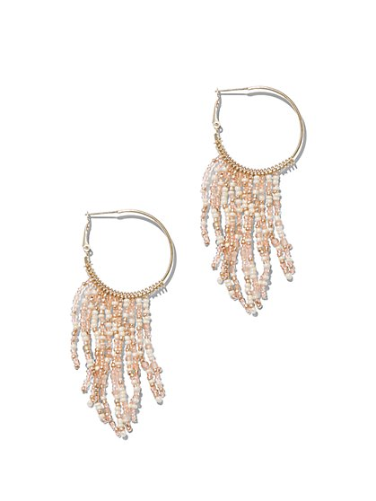 Beaded Tassel Hoop Earring - New York & Company