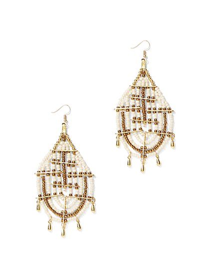 Beaded Teardrop Statement Earring - New York & Company