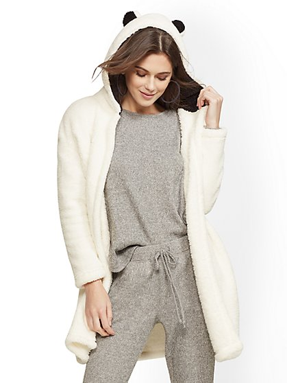 Bear Hooded Sherpa Cardigan - New York & Company