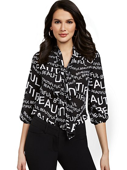 Beautiful Script Bow-Collar Blouse - New York & Company