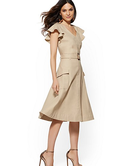 Beige Belted A-Line Dress - New York & Company