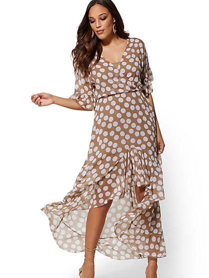Beige Dot-Print Hi-Lo Maxi Dress - New York & Company