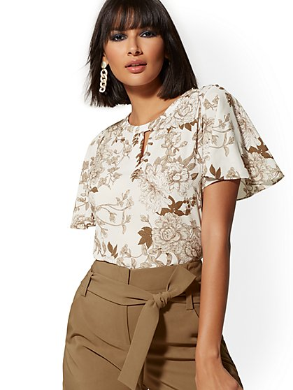 Beige Floral Button-Accent Blouse - 7th Avenue - New York & Company