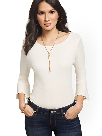 Bell-Cuff Crewneck Sweater - Sweet Pea - New York & Company