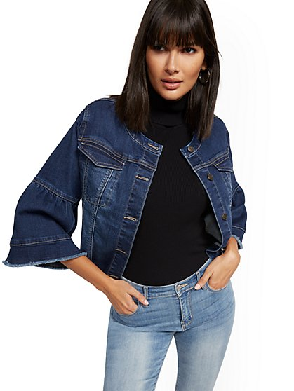 Bell-Sleeve Denim Jacket - Blue Honey - New York & Company