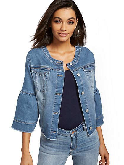 Bell-Sleeve Denim Jacket - Heartbreaker Blue - New York & Company