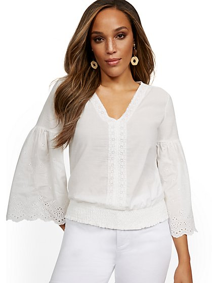 Bell Sleeve Eyelet Top - Lili & Cali - New York & Company