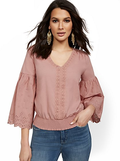 Bell Sleeve Eyelet Top - Lily & Cali - New York & Company