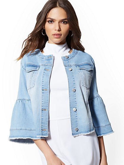 Bell-Sleeve Frayed Denim Jacket - Blue Horizon - New York & Company