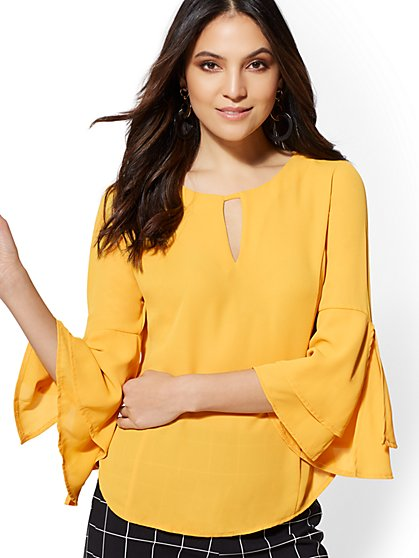 Bell-Sleeve Keyhole Top - 7th Avenue - New York & Company