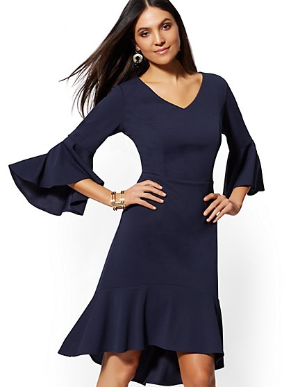 Bell-Sleeve Ruffled Sheath Dress - Magic Crepe - New York & Company