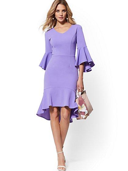517206b00ce Bell-Sleeve Ruffled Sheath Dress - Magic Crepe - New York   Company ...