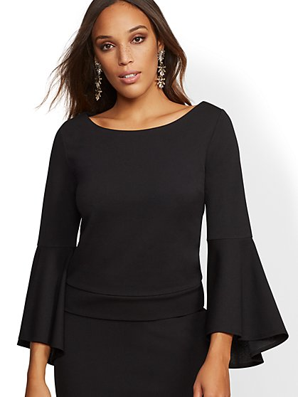 Bell-Sleeve Scuba Crepe Top - New York & Company