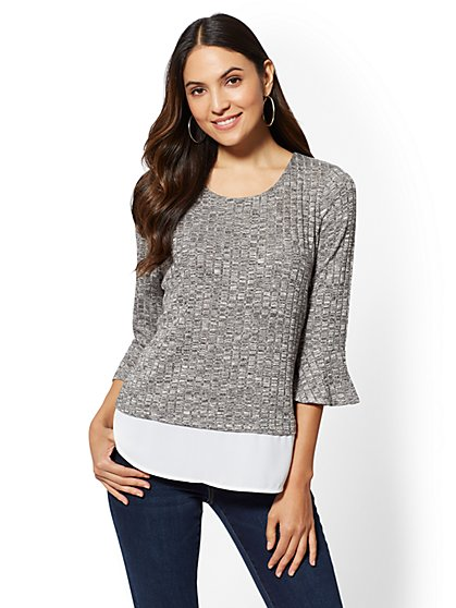 Bell-Sleeve Twofer Hacci Knit - New York & Company