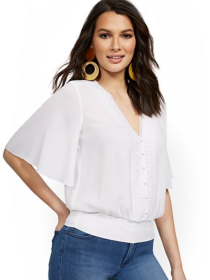Bell-Sleeve V-Neck Blouse - Lily & Cali - New York & Company